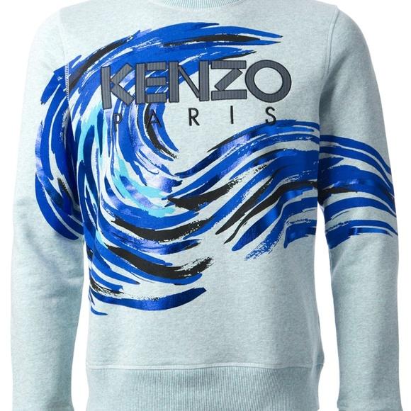 dc9d5fb61ef5 Kenzo Shirts | Mens Blue Wave Print Sweatshirt Size Small | Poshmark